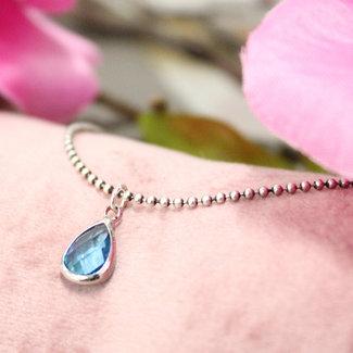 Biba Ketting Zilver Crystal Druppel Blauw