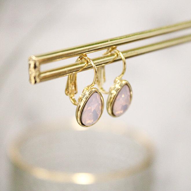 Oorbellen Goud Swarovski Rose Opal