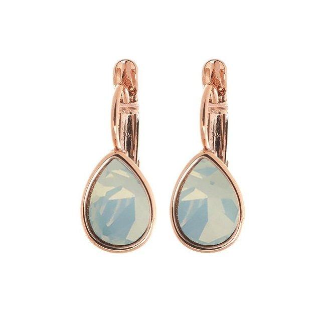 Biba Oorbellen Rose Swarovski Blue Opal