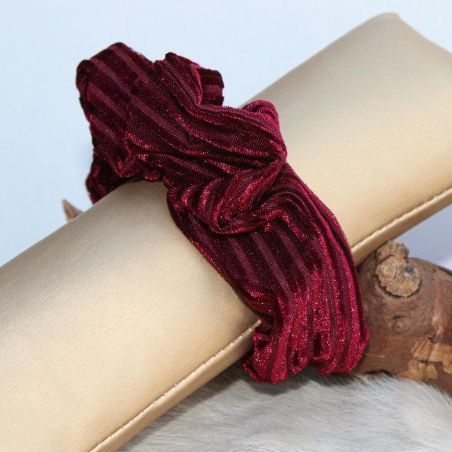 FestyFashion Scrunchie Stripe Velvet Bordeaux