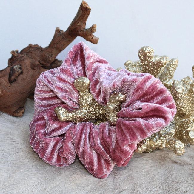 FestyFashion Scrunchie Stripe Velvet Roze