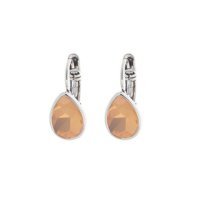 Biba Oorbellen Zilver Swarovski Peach Opal
