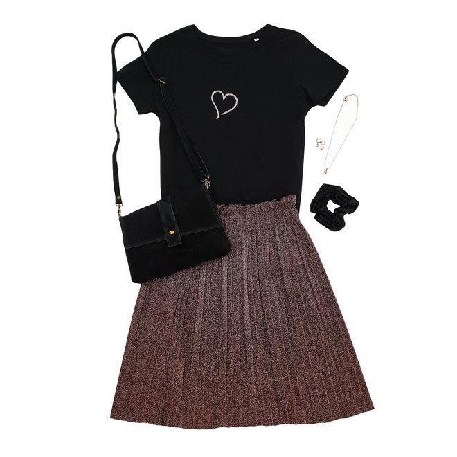Shirt  Hoodie Zwart Wit  'Heart' - Supersale