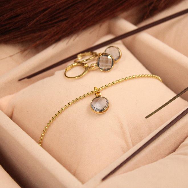 Oorringen Goud Diamond Blauw