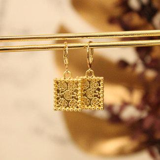 Festyfashion Oorringen  Goud Flowers-Supersale
