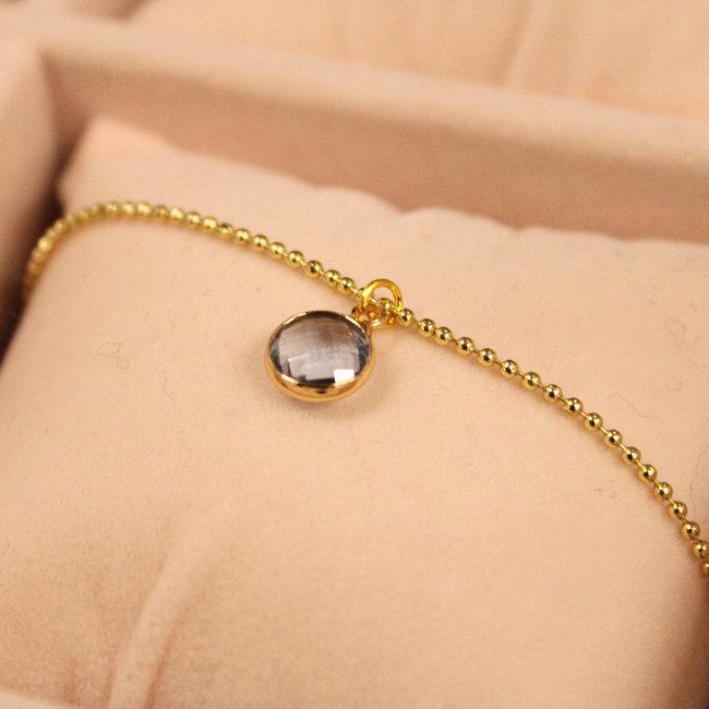 Biba Ketting Goud Diamond Blauw
