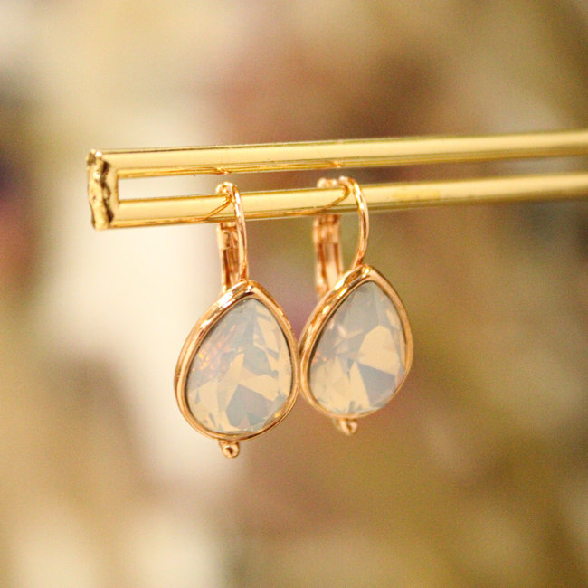 Biba Oorbellen RoseTrend White Opal