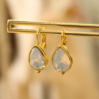 Biba Oorbellen Goud Trend White Opal