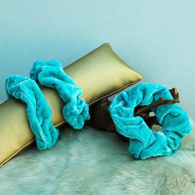 FestyFashion Scrunchie Velvet Aqua