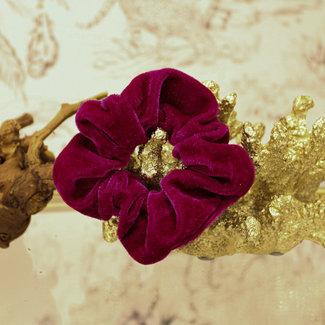 FestyFashion Scrunchie Velvet Fuchsia