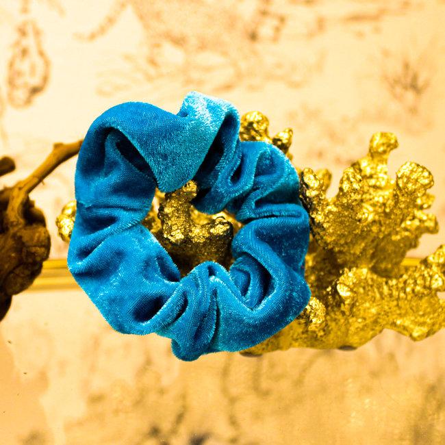 FestyFashion Scrunchie Velvet Blauw