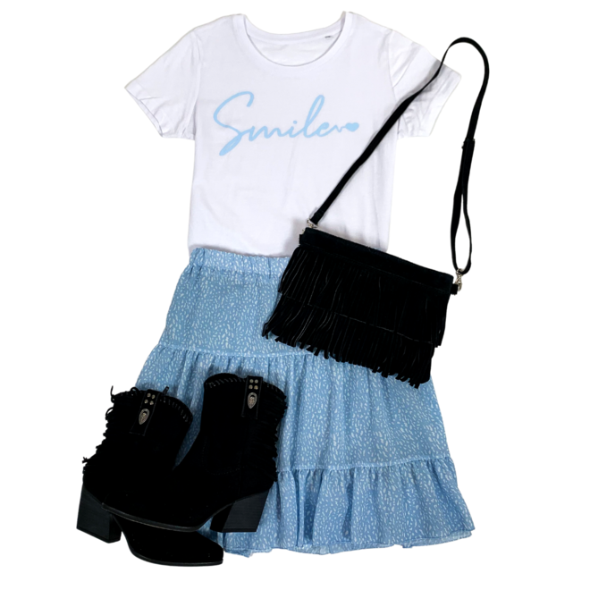 Shirt Zwart/Wit - 'Smile' - Supersale
