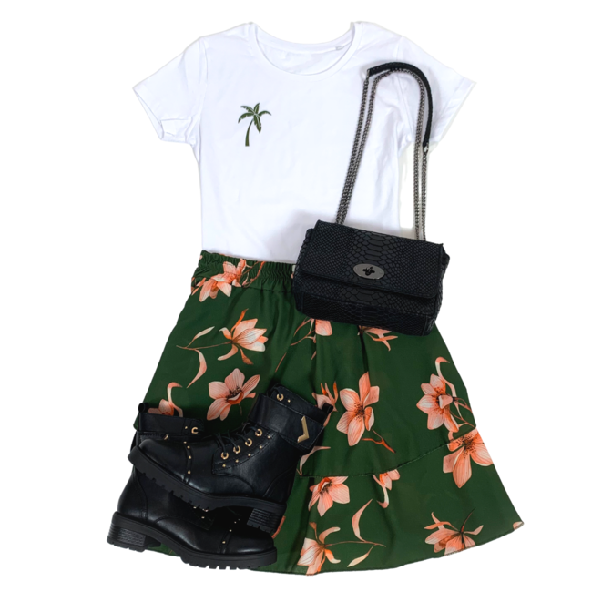 FestyFashion Shirt Zwart/Wit - 'Palmboom (mini)' - Supersale