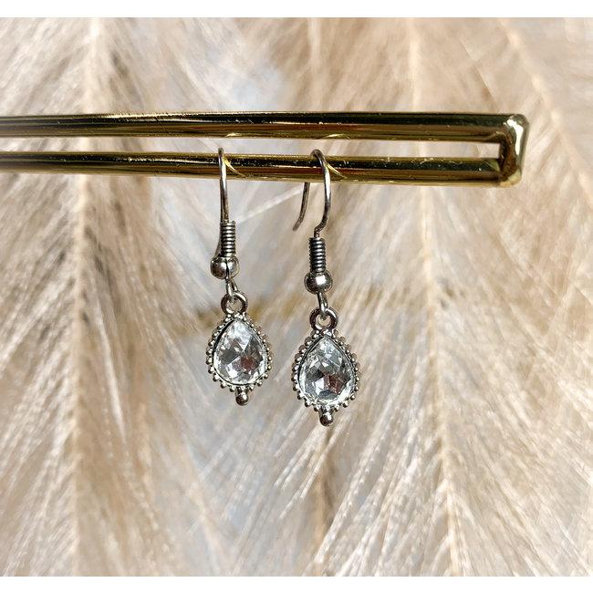 FestyFashion Oorbellen Zilver Jewel Crystal Druppel
