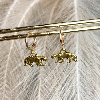 FestyFashion Oorringen Goud  Luipaard