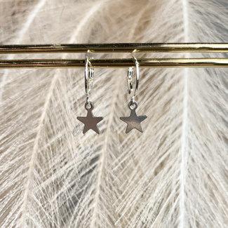 Festyfashion Oorbellen Zilver Star