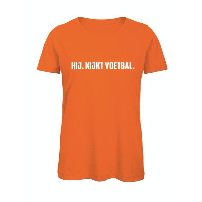 Shirt Hoodie ' HIJ. kijkt voetbal'