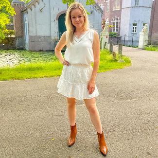 FestyFashion Rokje Broderie Nina Wit  - Supersale