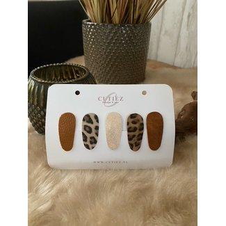 Cutiez Haarspeldjes Combiset Leopard Middel 4,5 cm