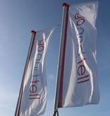 Banderas verticales, banderas publicitarias, banderas impresas a todo color.