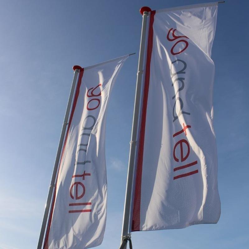 Reklameflag med firma logo, full colour
