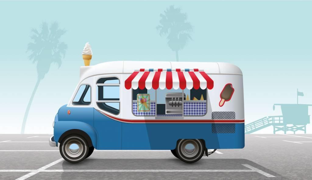 Beach flags aux stands et camions de nourriture