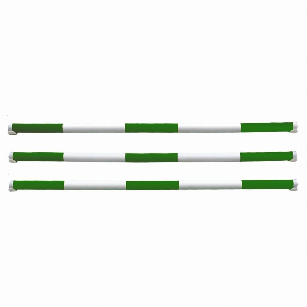 Balk uit de 'Budget serie'. Lengte 3 meter, kernhout. - groen & wit