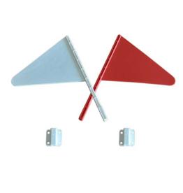 Hindernisvlaggetjes set (rood + wit + houders)