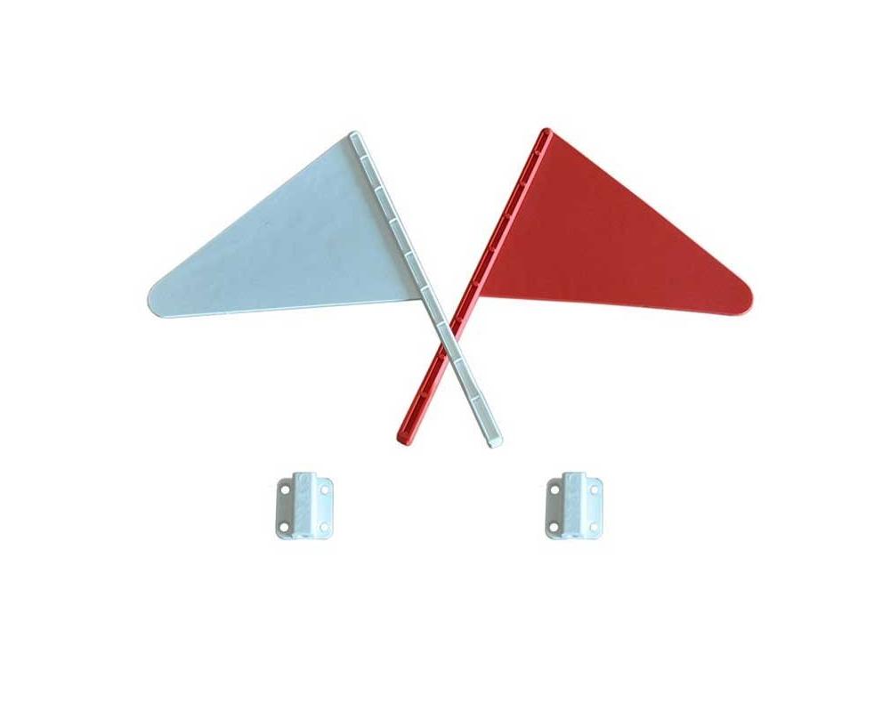 Hindernisvlaggetjes wit en rood inclusief houders