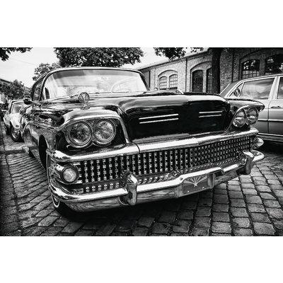 Wanddecoratie zwart wit Amerikaanse auto