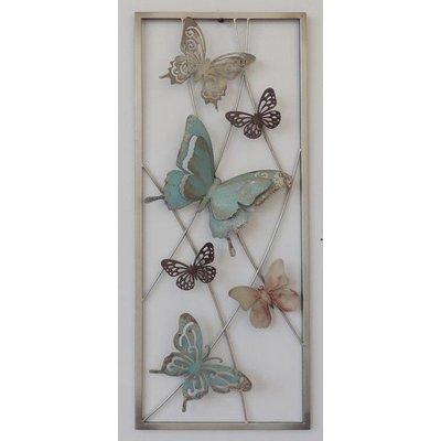 Muurdecoratie metal vlinders