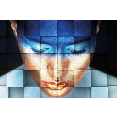 "Aluminium wanddecoratie ""Blue girl"""