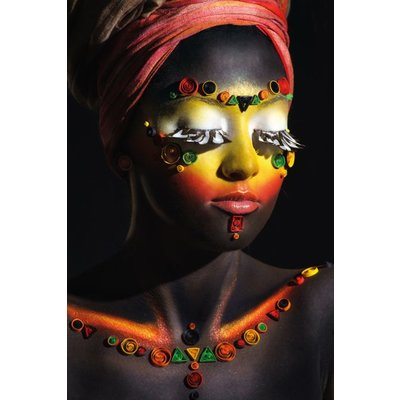 """Aluminium wanddecoratie """"African woman with makeup"""""""