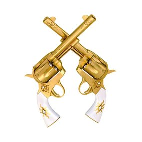 "Wanddecoratie ""Two Golden Handguns"""
