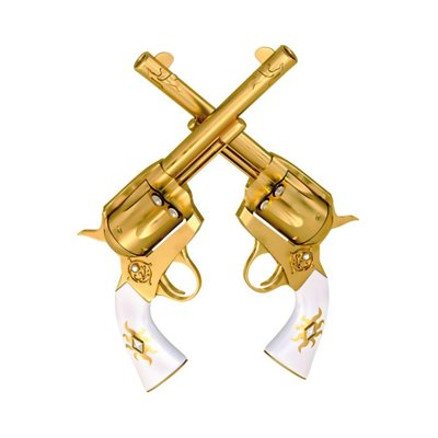 "Aluminium wanddecoratie ""Two Golden Handguns"""