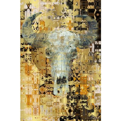 "Digitalart wanddecoratie ""Golden skull"""