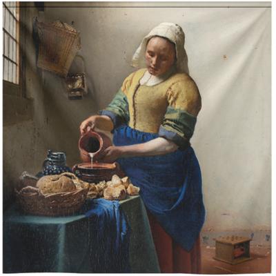 """Wandkleed vintage """"Het melkmeisje"""" van Johannes Vermeer"""