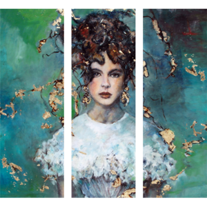 "Glazen wanddecoratie ""Lady in Green"""