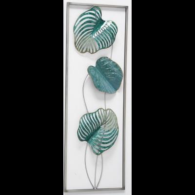 Metalen wanddecoratie Bladeren groen