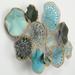 Metalen wanddecoratie cirkels zeegroen