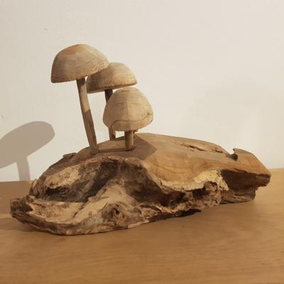 Houten kunstwerk Paddenstoelen op stam
