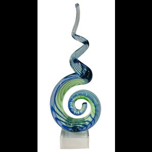 Glasdecoratie glassculptuur Blauw / groen