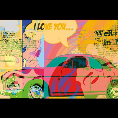Aluminium wanddecoratie popart classic car