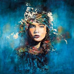 Wanddecoratie Lady in Blue