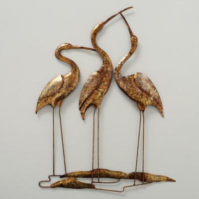 Metalen wanddecoratie Kraanvogels