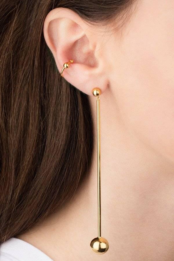 Maria Black Orbit shoulder duster earring gold