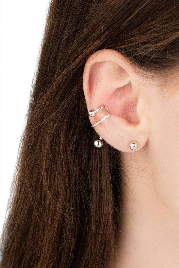 Maria Black Ball earring silver