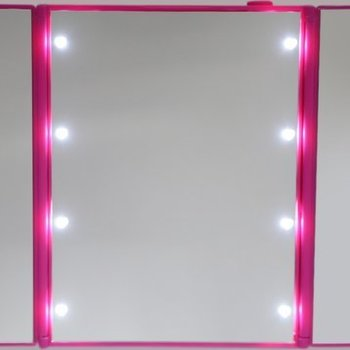 Roze LED Make-up Spiegel met verlichting  8 Led lichtjes