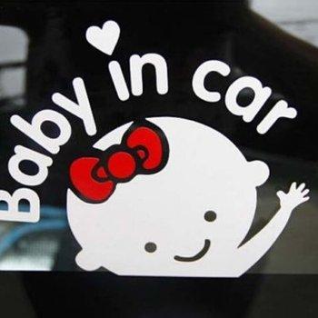 Baby in Car autosticker Girls