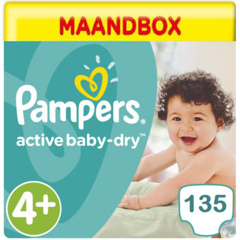 Pampers Active Baby Dry Maandbox Maat 4+ - 135 Luiers